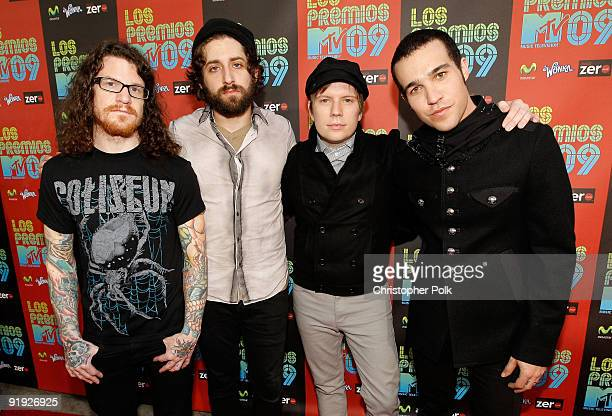 Musicians Andy Hurley Joe Trohman Patrick Stump and Pete Wentz of the band Fall Out Boy arrive at the 'Los Premios MTV 2009' Latin America Awards...
