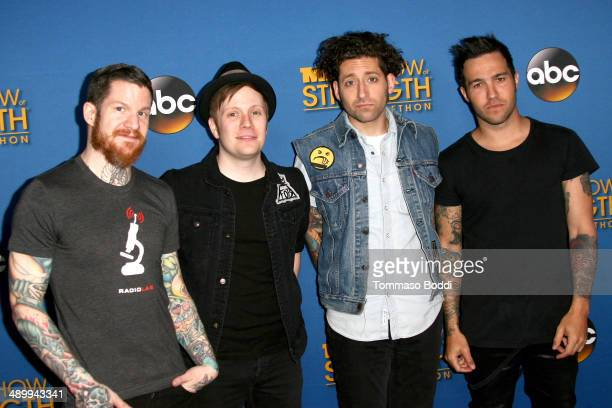 Musicians Andy Hurley Patrick Stump Joe Trohman and Peter Wentz of Fall Out Boy attend the 2014 MDA Show of Strength Telethon held at the Hollywood...