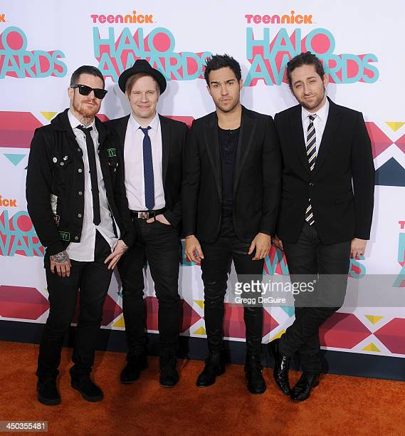 Musicians Andy Hurley Patrick Stump Pete Wentz and Joe Trohman of Fall Out Boy arrive at the 2013 TeenNick HALO Awards at the Hollywood Palladium on...