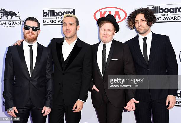 Musicians Andy Hurley Pete Wentz Patrick Stump and Joe Trohman of Fall Out Boy attend the 2015 Billboard Music Awards at MGM Grand Garden Arena on...