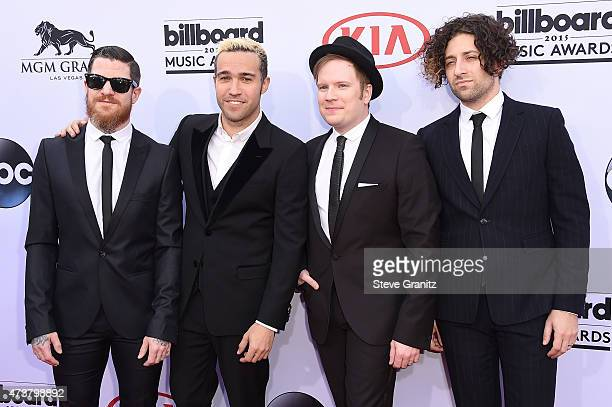 Musicians Andy Hurley Peter Wentz Patrick Stump and Joe Trohman of Fall Out Boy attend the 2015 Billboard Music Awards at MGM Grand Garden Arena on...
