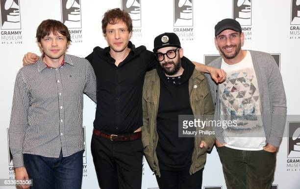 Musicians Andy Ross Damian Kulash Tim Nordwind and Dan Konopka of OK GO attend Upside Down Inside Out a special sceening and QA with OK Go at The...