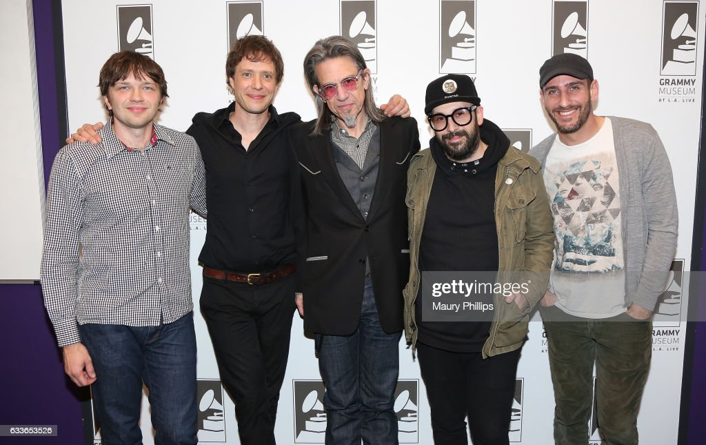 Musicians Andy Ross, Damian Kulash, Vice President of the GRAMMY Foundation Scott Goldman, Tim Nordwind and Dan Konopka of OK GO attend Upside Down Inside Out a special sceening and Q&A with OK Go at The GRAMMY Museum on February 2, 2017 in Los Angeles, California.