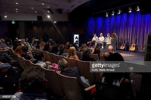 Musicians Andy Ross Dan Konopka and Damian Kulash speak with moderator Melinda Newman at The Drop OK Go at The GRAMMY Museum on October 29 2014 in...
