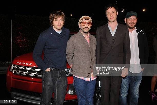Musicians Andy Ross Tim Nordwind Damian Kulash and Dan Konopka of OK Go arrive at the Range Rover Evoque VIP launch party at Cecconi's Restaurant on...