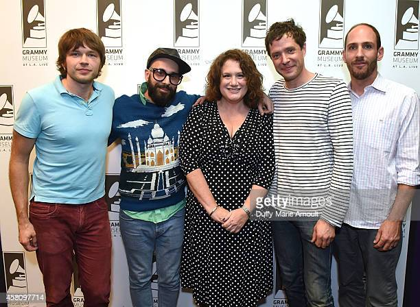 Musicians Andy Ross Tim Nordwind Damian Kulash and Dan Konopka with moderator Melinda Newman at The Drop OK Go at The GRAMMY Museum on October 29...