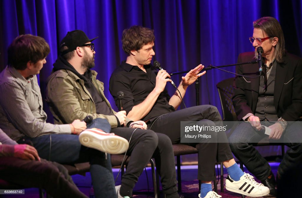 Musicians Andy Ross, Tim Nordwind, Damian Kulash and Vice President of the GRAMMY Foundation Scott Goldman speak onstage during Upside Down Inside Out a special sceening and Q&A with OK Go at The GRAMMY Museum on February 2, 2017 in Los Angeles, California.