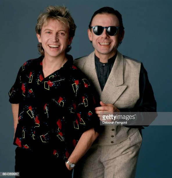 Musicians Andy Summers and Robert Fripp pose for a portrait in May 1984 in New York City New York