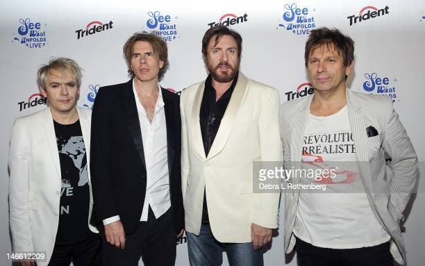 Musicians Andy Taylor John Taylor Simon Le Bon and Roger Taylor of Duran Duran during the 'See What Unfolds' live performance at the Trident Layers...
