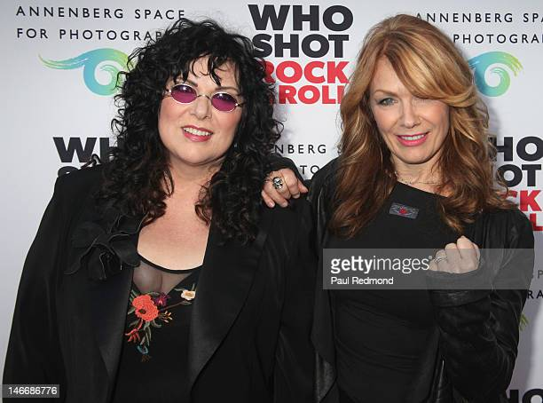 Musicians Ann Wilson and Nancy Wilson arrive at 'Who Shot Rock Roll A Photographic History 1955Present' at Annenberg Space For Photography on June 21...