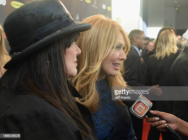 Musicians Ann Wilson and Nancy Wilson of Heart arrive at the 28th Annual Rock and Roll Hall of Fame Induction Ceremony at Nokia Theatre LA Live on...