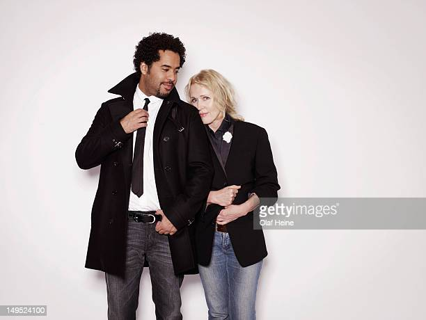 Musicians Annette Humpe and Adel Tawil of Ich Ich are photographed on September 9 2009 in Hamburg Germany