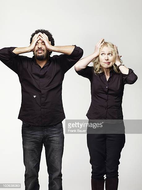 Musicians Annette Humpe and Adel TawilI of Ich Ich pose for a portrait shoot in Munich on October 7 2009