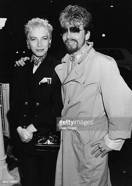 Musicians Annie Lennox and Dave Stewart the band 'Eurythmics' at The Elephant on the River in London April 30th 1985