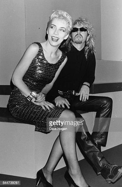 Musicians Annie Lennox and Dave Stewart the band 'Eurythmics' attending the Ivor Novello Music Awards London April 21st 1987