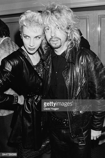 Musicians Annie Lennox and Dave Stewart the band 'Eurythmics' attending the Ivor Novello Awards in London April 15th 1987