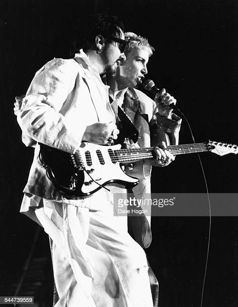 Musicians Annie Lennox and Dave Stewart the band 'Eurythmics' performing on stage at Wembley Stadium London September 1989