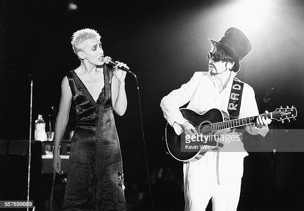 Musicians Annie Lennox and Dave Stewart the band 'Eurythmics' performing on stage circa 1985