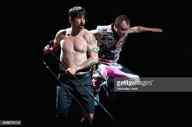 Musicians Anthony Kiedis and Flea of Red Hot Chili Peppers perform onstage during the Meadows Music and Arts Festival Day 3 at Citi Field on...