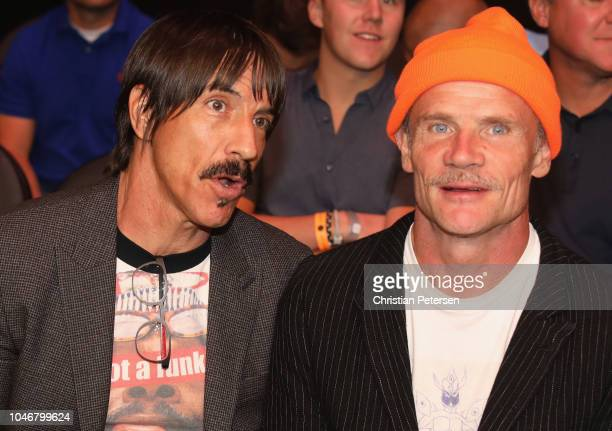 Musicians Anthony Kiedis and Flea of the Red Hot Chili Peppers attend the UFC 229 event inside TMobile Arena on October 6 2018 in Las Vegas Nevada