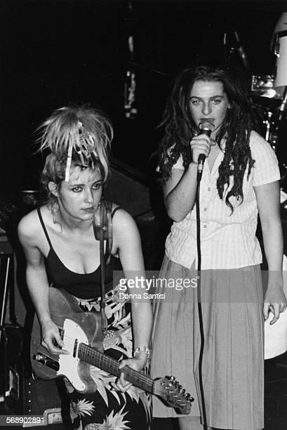 Musicians Ari Up and Viv Albertine with their band 'The Slits' on stage at Whisky in Los Angeles circa 1979