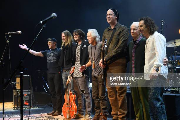 Musicians Arjun Bruggeman Micah Nelson John Densmore Krist Novoselic Robby Krieger and Ed Roth perform onstage during Homeward Bound A Benefit for...