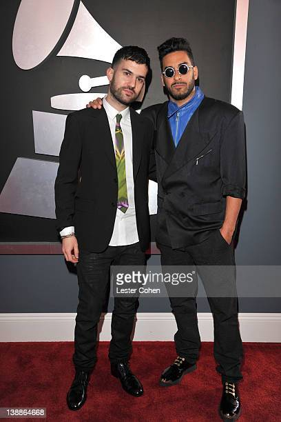 Musicians Armand Van Helden ATrak of Duck Sauce arrive at The 54th Annual GRAMMY Awards at Staples Center on February 12 2012 in Los Angeles...