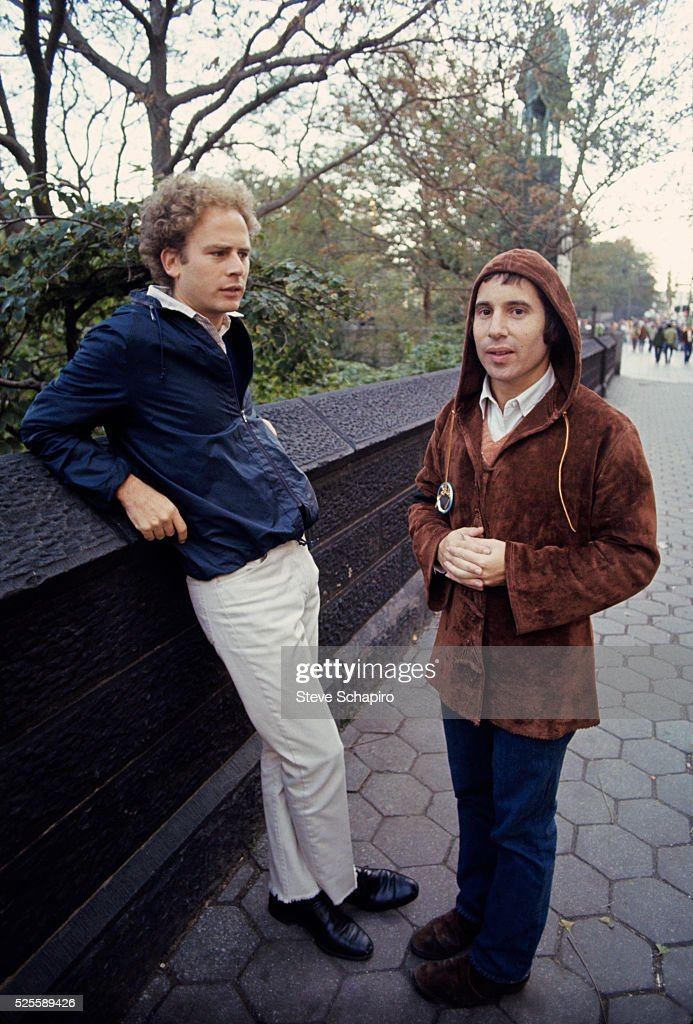 Musicians Art Garfunkel and Paul Simon in Central Park in New York City.