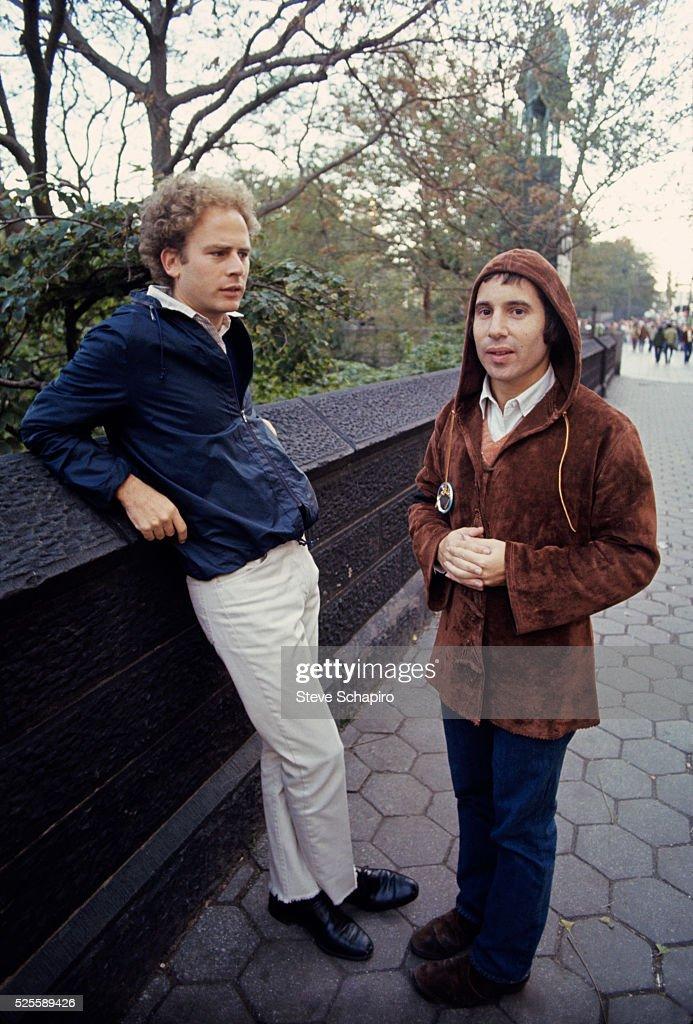 Musicians Art Garfunkel and Paul Simon in Central Park in New York City.
