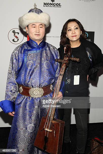 Musicians Ashit and Nansa pose backstage at the Mongol fashion show during Mercedes-Benz Fashion Week Fall 2015 at The Theatre at Lincoln Center on...