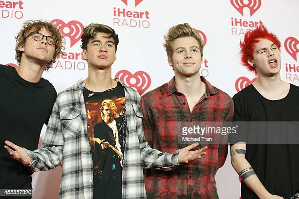 Musicians Ashton Irwin, Calum Hood, Luke Hemmings and Michael Clifford and 5 Seconds of Summer attend the iHeart Radio Music Festival - night 2 -...