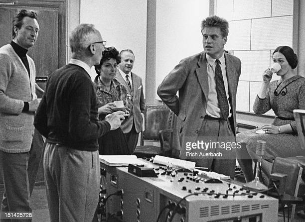 Musicians at a recording session for Mozart's 'Don Giovanni' 14th October 1959 Among the group are conductor Carlo Maria Giulini Italian soprano...