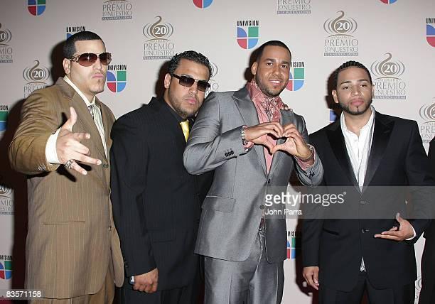 Musicians Aventura arrive at the Premio Lo Nuestro Latin Music Awards at the American Airlines Arena on February 21 2008 in Miami Florida