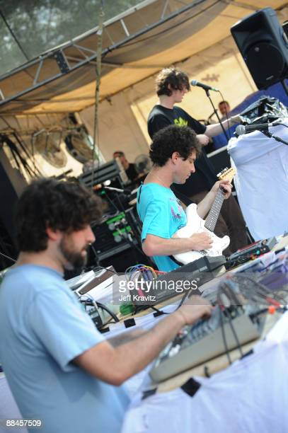 Musicians Avey Tare and Panda Bear of Animal Collective performs on stage during Bonnaroo 2009 on June 12 2009 in Manchester Tennessee
