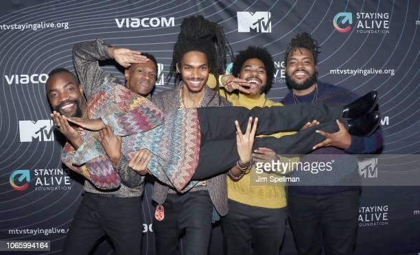Musicians Bari Bass Matt Maffyuu Byas Elbie Thrie Elijah Rawk and Aja Grant from Phony Ppl attend the MTV Staying Alive Foundation 20th Anniversary...
