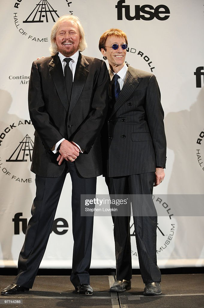 Musicians Barry Gibb and Robin Gibb of the Bee Gees attend the 25th Annual Rock And Roll Hall of Fame Induction Ceremony at the Waldorf=Astoria on March 15, 2010 in New York City.