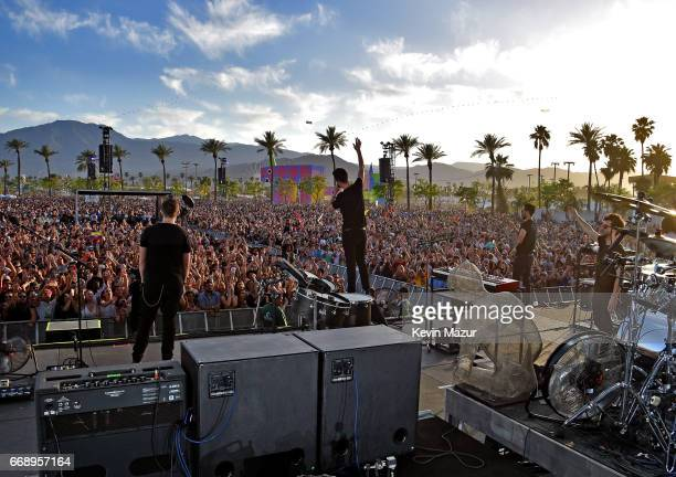 Musicians Bastille perform on the Outdoor stage during day 2 of the Coachella Valley Music And Arts Festival at the Empire Polo Club on April 15 2017...