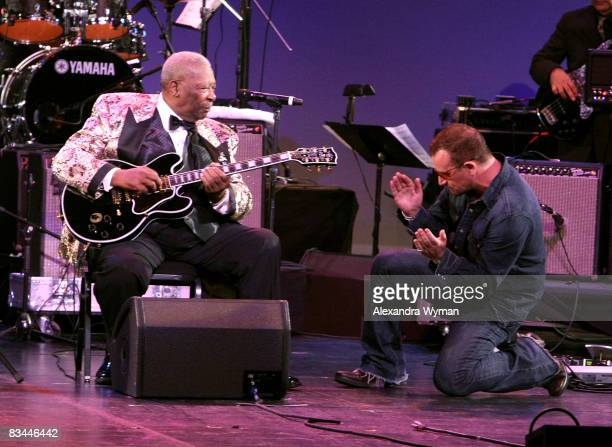 Musicians BB King and Bono of U2 perform onstage during the Thelonious Monk Institute of Jazz honoring BB King event held at the Kodak Theatre on...