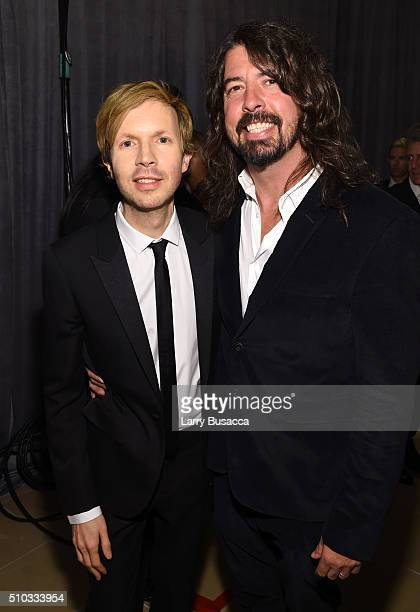 Musicians Beck and Dave Grohl attend the 2016 PreGRAMMY Gala and Salute to Industry Icons honoring Irving Azoff at The Beverly Hilton Hotel on...