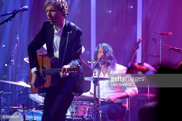Musicians Beck and Dave Grohl perform onstage during the 2016 PreGRAMMY Gala and Salute to Industry Icons honoring Irving Azoff at The Beverly Hilton...