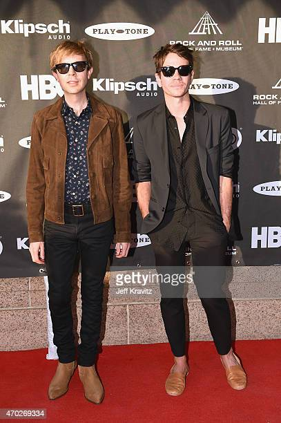 Musicians Beck and Nate Ruess attend the 30th Annual Rock And Roll Hall Of Fame Induction Ceremony at Public Hall on April 18 2015 in Cleveland Ohio