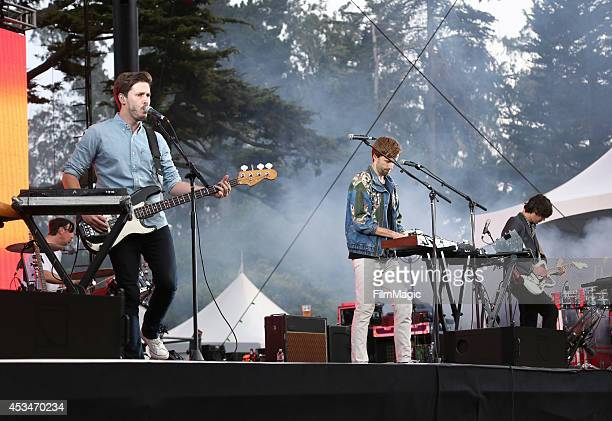 Musicians Ben Browning Mitchell Scott Dan Whitford and Tim Hoey of Cut Copy performs at the Twin Peaks Stage during day 3 of the 2014 Outside Lands...