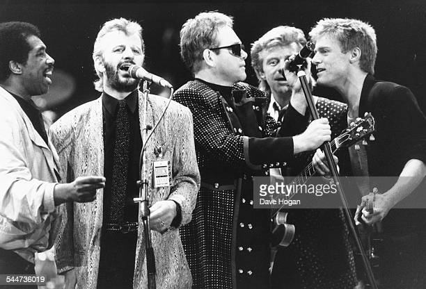 Musicians Ben E King Ringo Starr Elton John Dave Edmunds and Bryan Adams singing together at a concert for the Princes Trust attended by Princess...