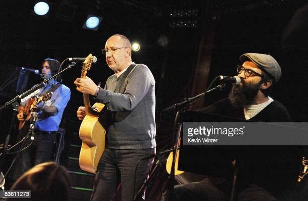 Musicians Ben Gibbard Pete Townshend and Mark Oliver Everett perform at Rachel Fuller's In The Attic presented by Best Buy at the Troubador on...