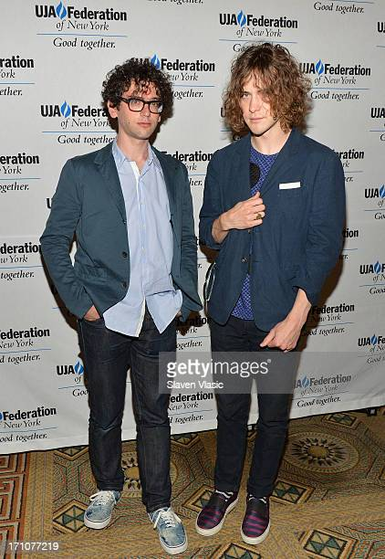 Musicians Ben Goldwasser and Andrew Vanwyngarden attend UJAFederation Of New York Music Visionary Of The Year Award Luncheon at The Pierre Hotel on...