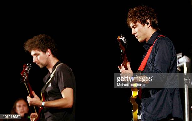 Musicians Ben Goldwasser and Andrew VanWyngarden of MGMT performs on stage during the 2009 All Points West Music Arts Festival at Liberty State Park...