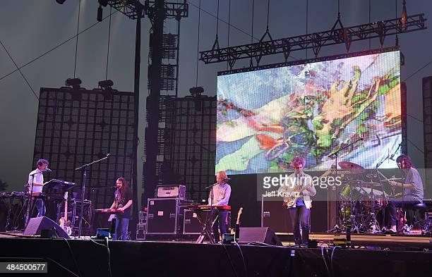Musicians Ben Goldwasser James Richardson Hank Sullivant Andrew VanWyngarden Matt Asti and Will Berman of the band MGMT perform onstage during day 2...