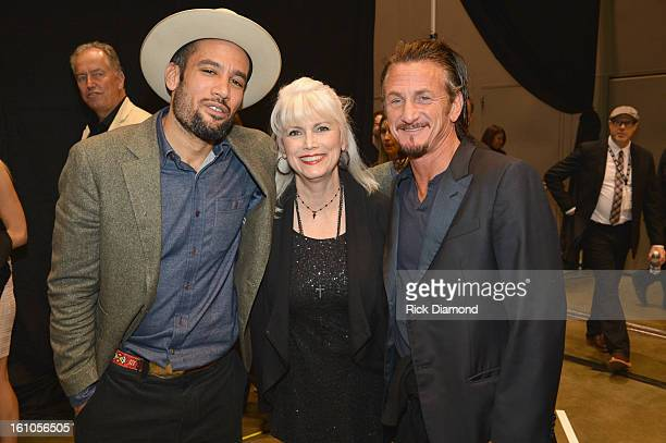 Musicians Ben Harper and Emmylou Harris and actor Sean Penn attend MusiCares Person Of The Year Honoring Bruce Springsteen at the Los Angeles...