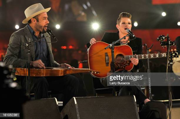 Musicians Ben Harper and Natalie Maines perform onstage at MusiCares Person Of The Year Honoring Bruce Springsteen on February 8 2013 in Los Angeles...