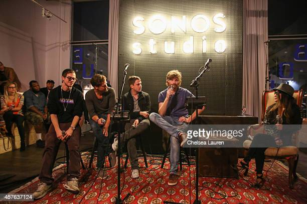 Musicians Ben Hazlegrove Ted Wendler Jeff Maccora and Lane Shaw of Mansions on the Moon speak at Sonos Studio on October 21 2014 in Los Angeles...